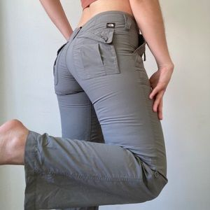 North Face Gray/Green Cargo Athletic Hiking Pants